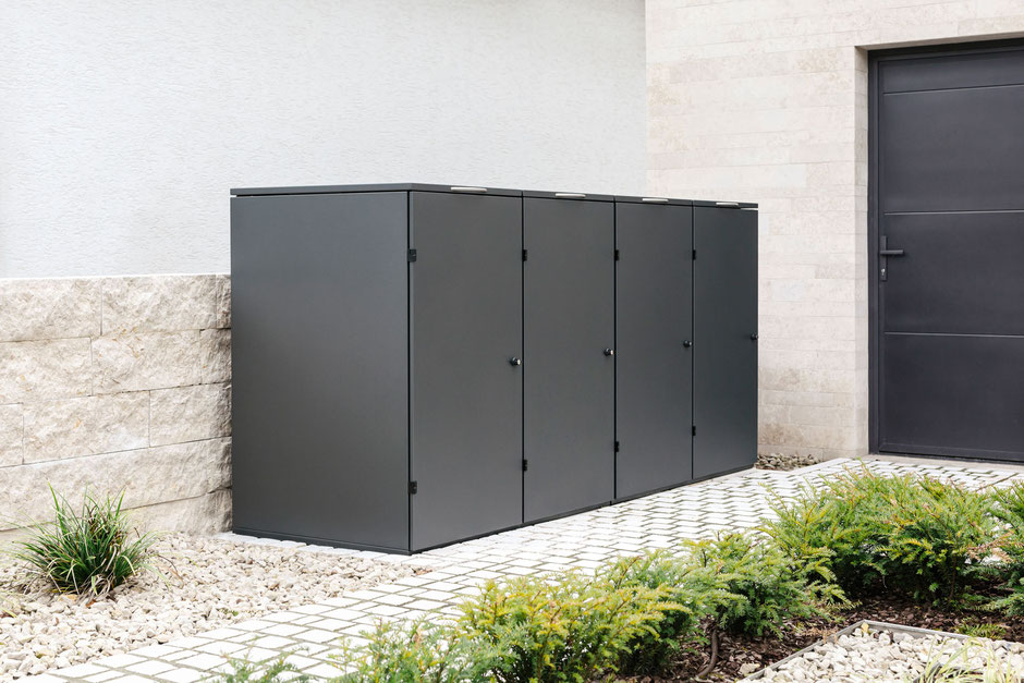 Mülltonnenbox Edelstahl Farbe DB 703 Metallic