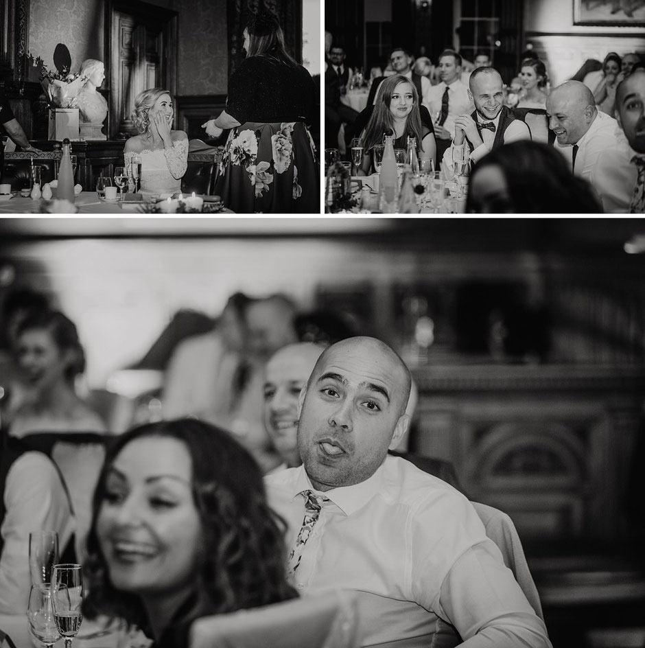 black and photographs taken during wedding day speeches
