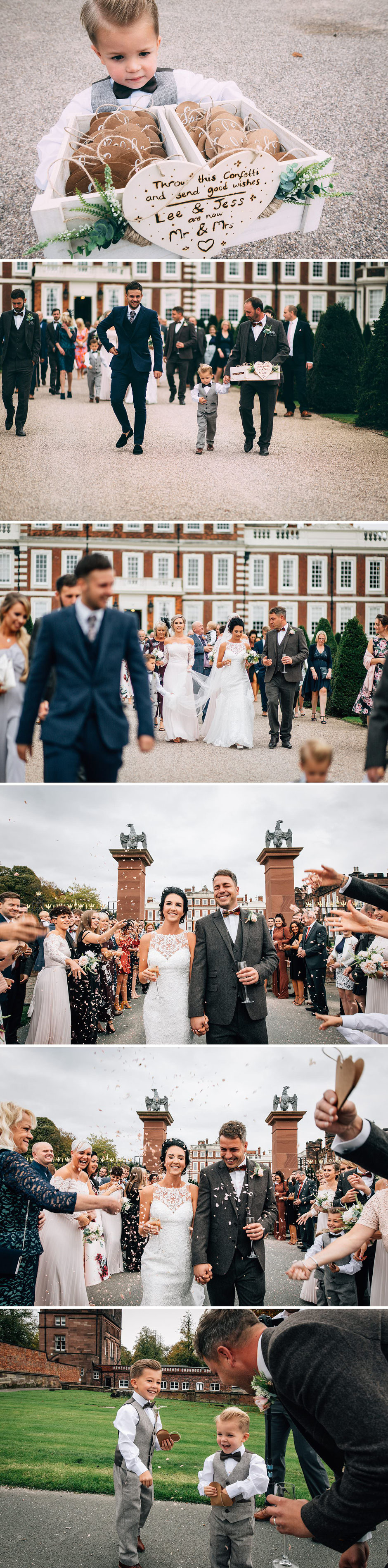 photographs of a confetti throw on the drive at Knowsley hall