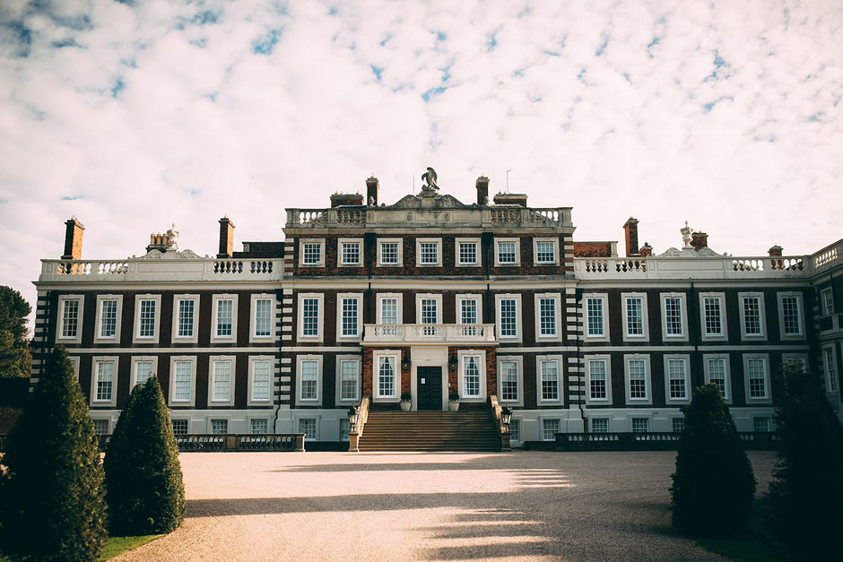 photograph of the front of Knowsley hall from the driveway