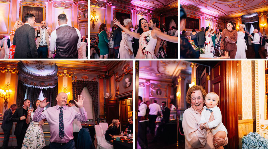 colourful photographs of guests dancing and  enjoying a wedding party.