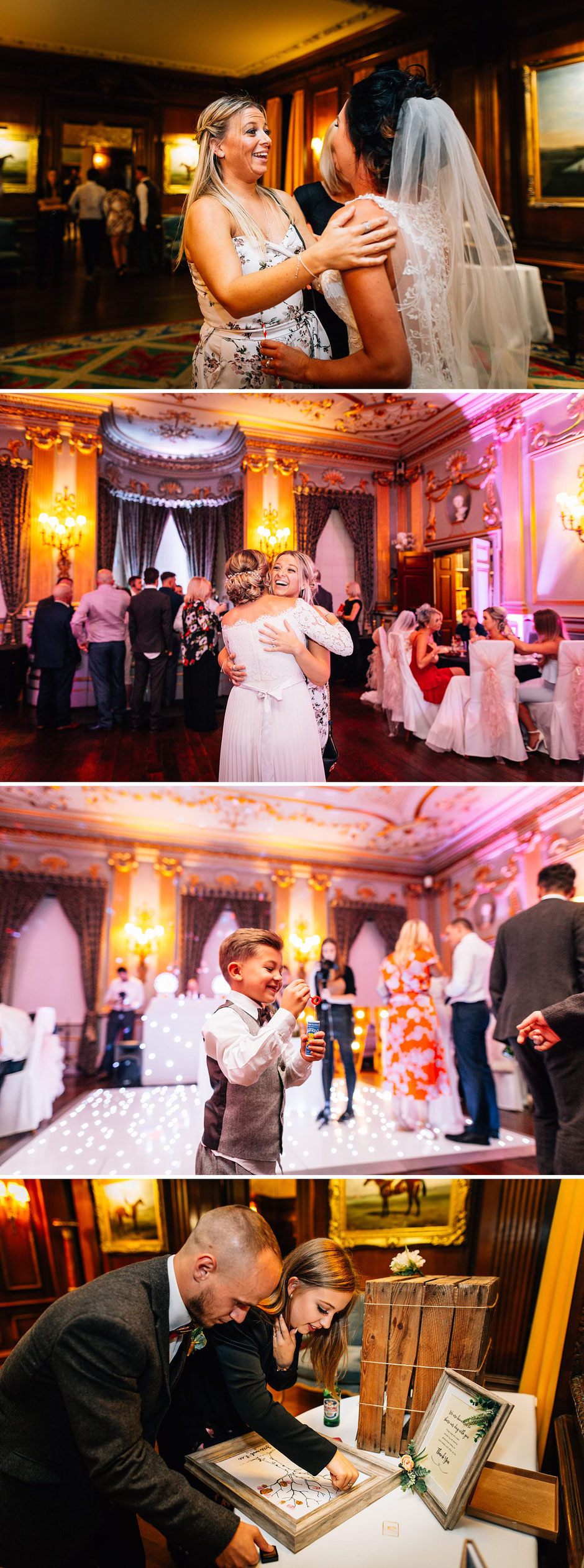 collection of photographs from an evening wedding reception