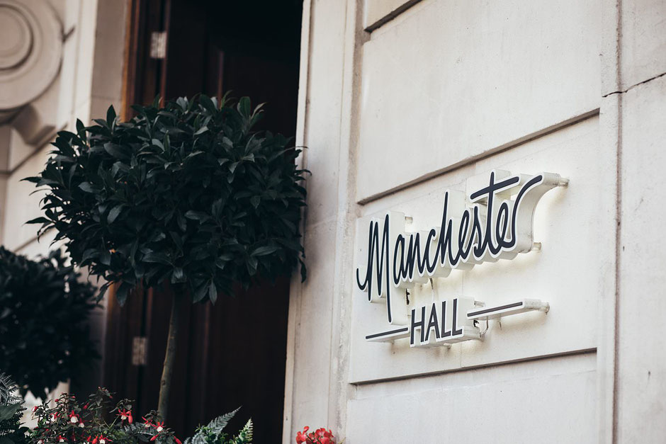 Manchester Hall Sign on the outside of the building
