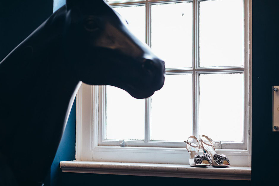 a photograph of a pair of shoes sat on a windowsill with a horse in the foreground