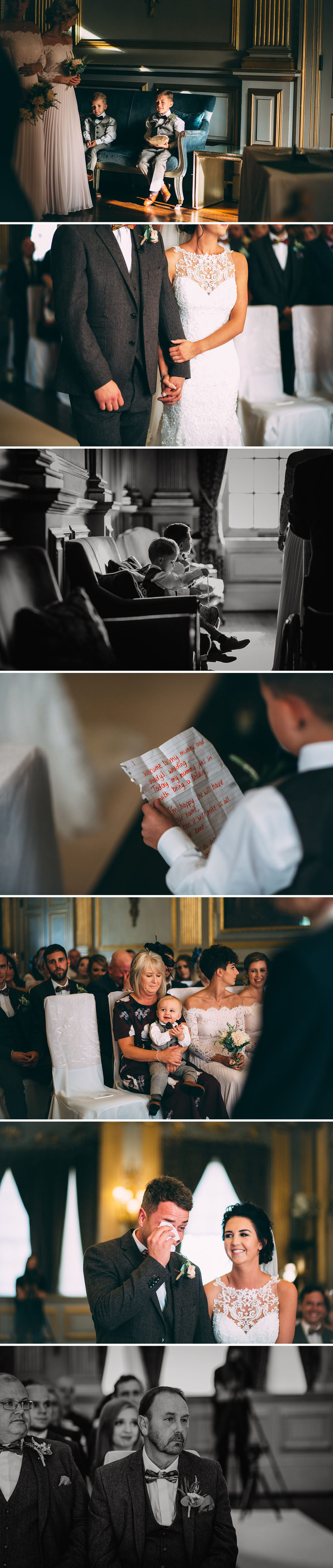 candid photographs during a wedding ceremony including bride and groom plus their guests
