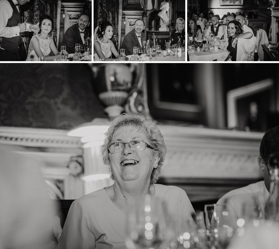 black and white photographs of guests during speeches
