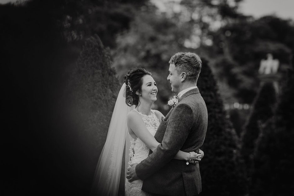black and white portrait of a bride and groom