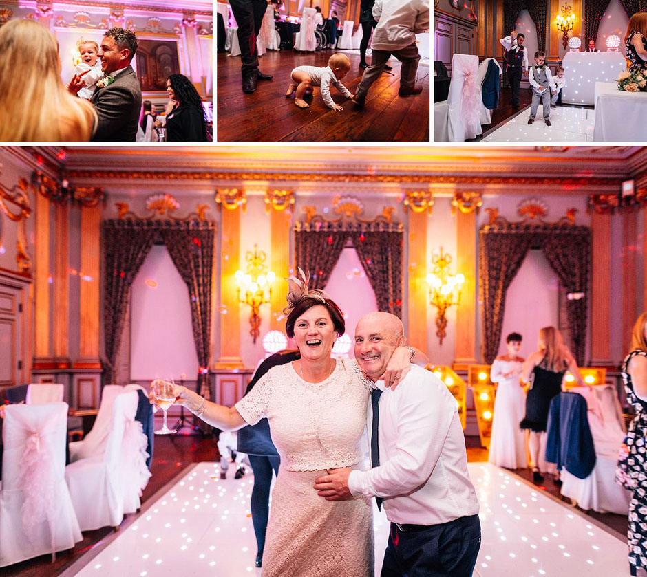 Photographs of guests having fun at an evening wedding reception