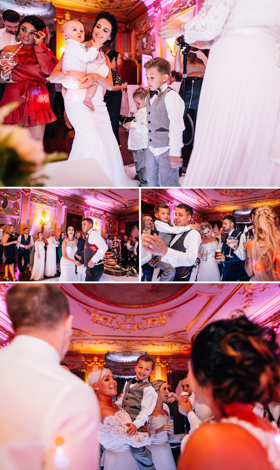 colourful photographs of a wedding reception at Knowsley hall
