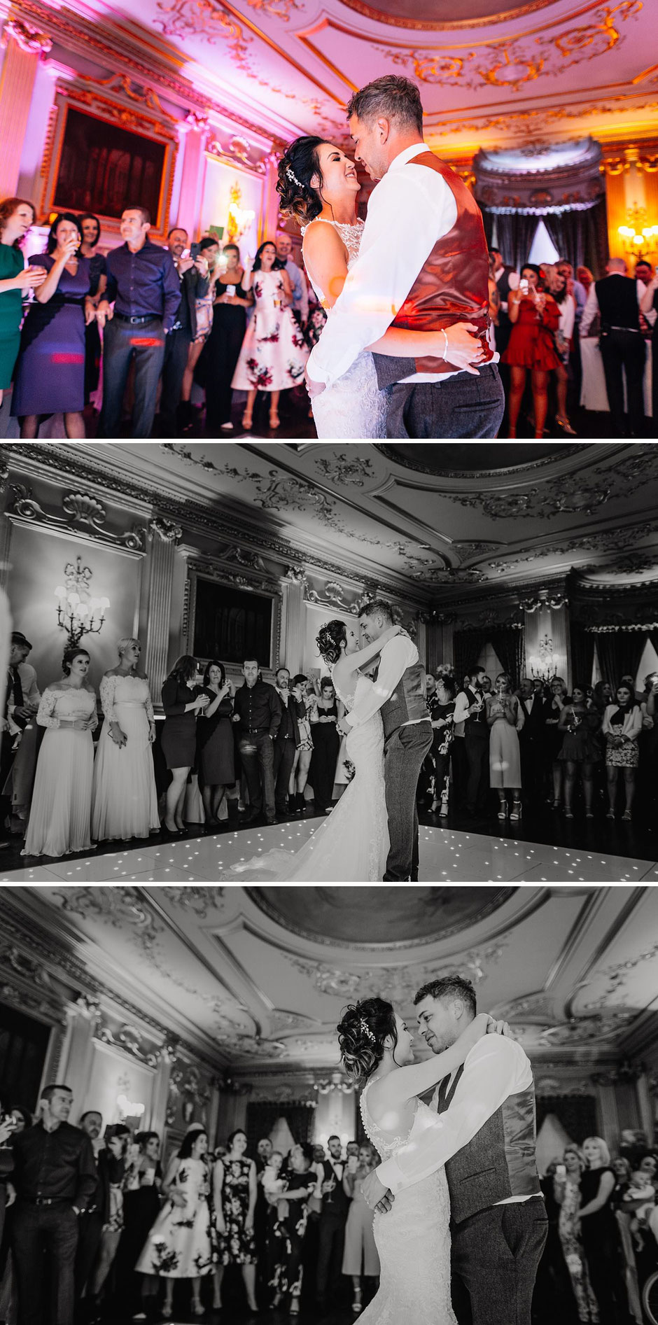 photographs of a bride and groom dancing in front of their guests