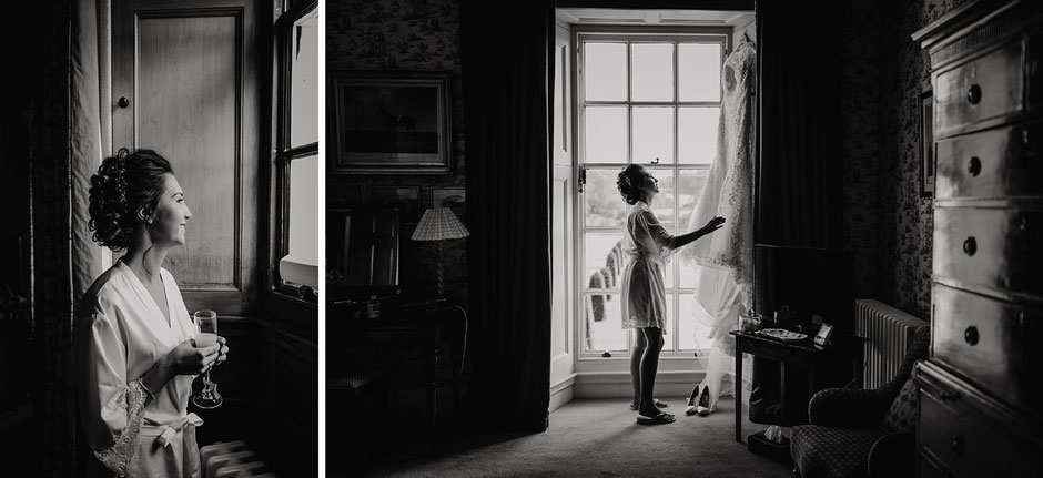 black and white portraits of a bride in window light and with her dress