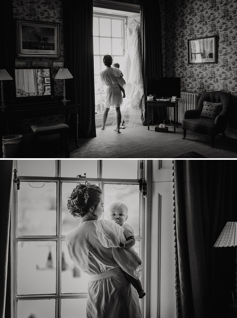 candid black and white photographs of a bride and her baby boy