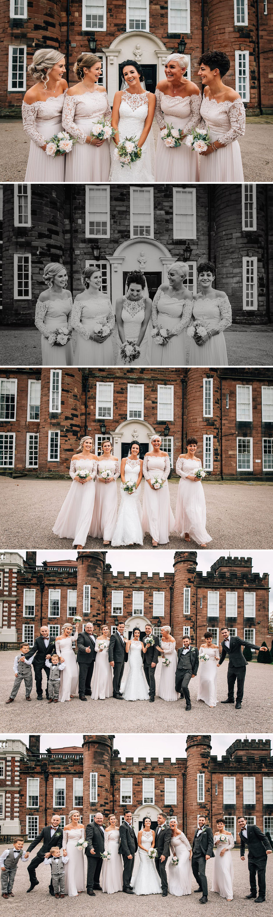 fun photographs of a bride and her bridesmaids wearing pink dresses and holding bouquets