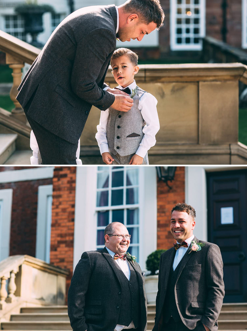 candid photographs of a men in tweed suits outside Knowsley hall