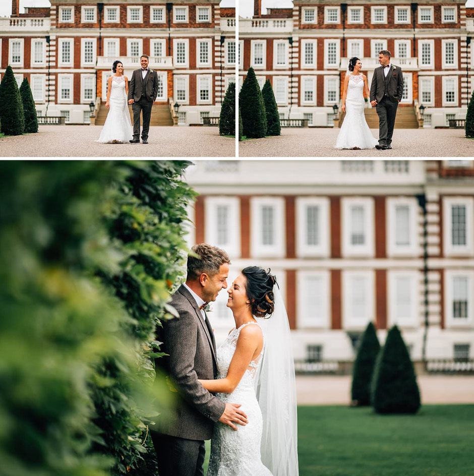 portraits of a bride and groom walking down the drive outside Knowsley hall