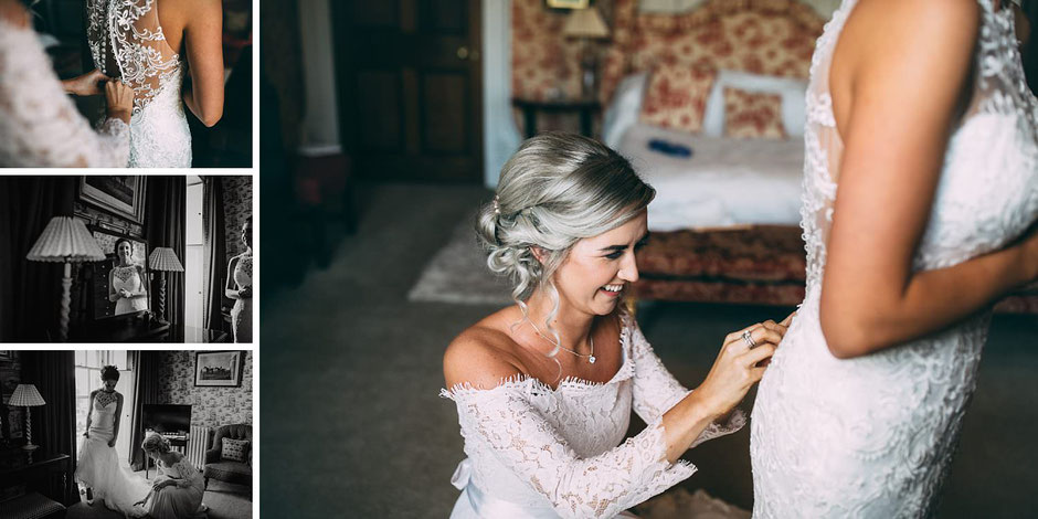 candid photographs of a bride being helped into her wedding dress by her sister dressed as a bridesmaid