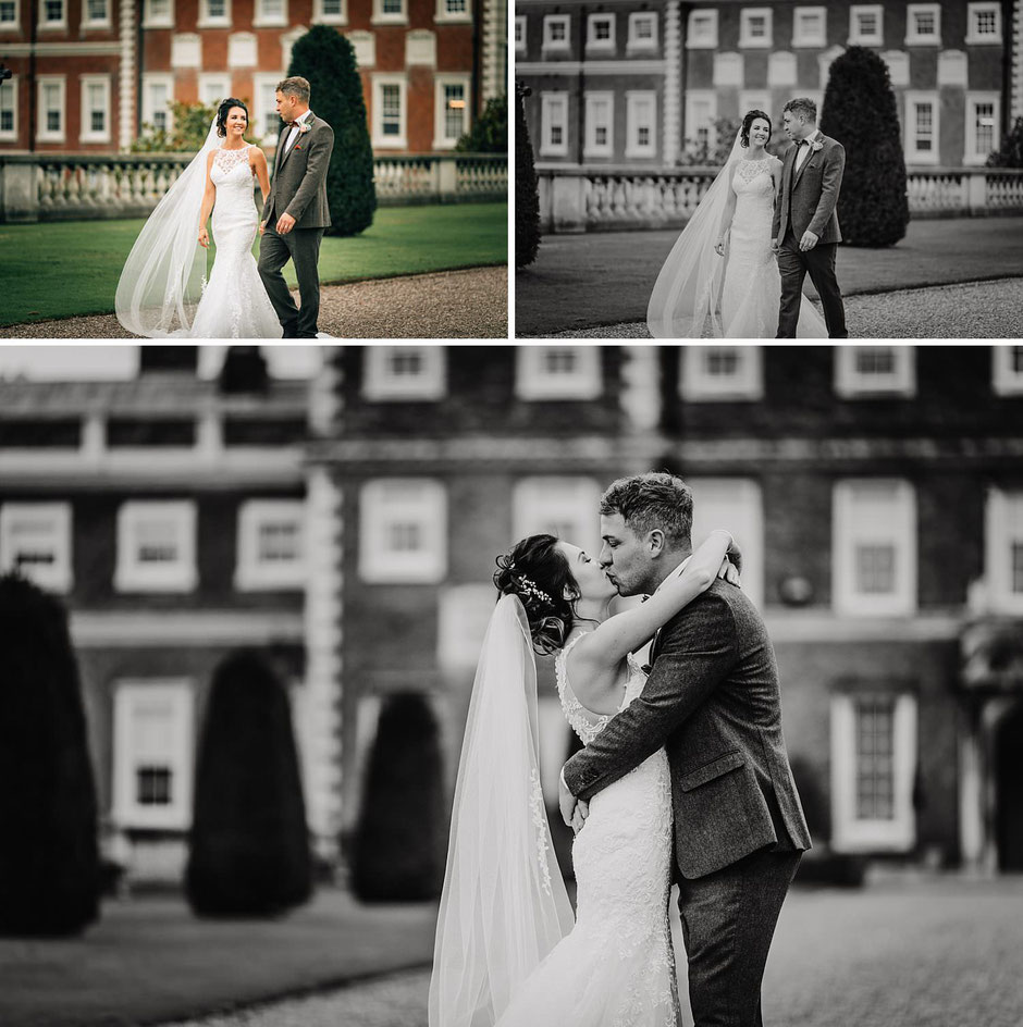 a mixture of black and white and colour photographs of a bride and groom