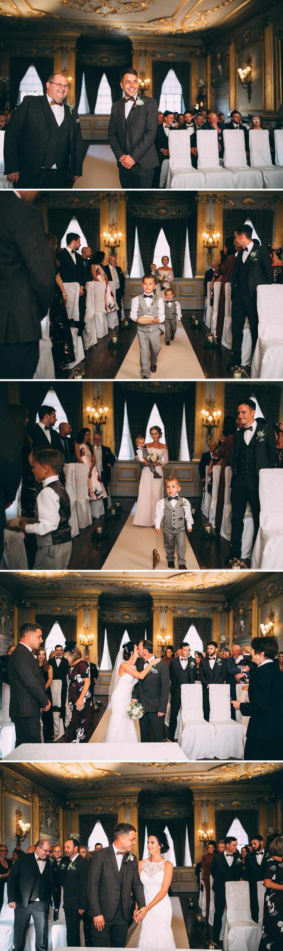 Candid photographs of a wedding ceremony at Knowsley hall