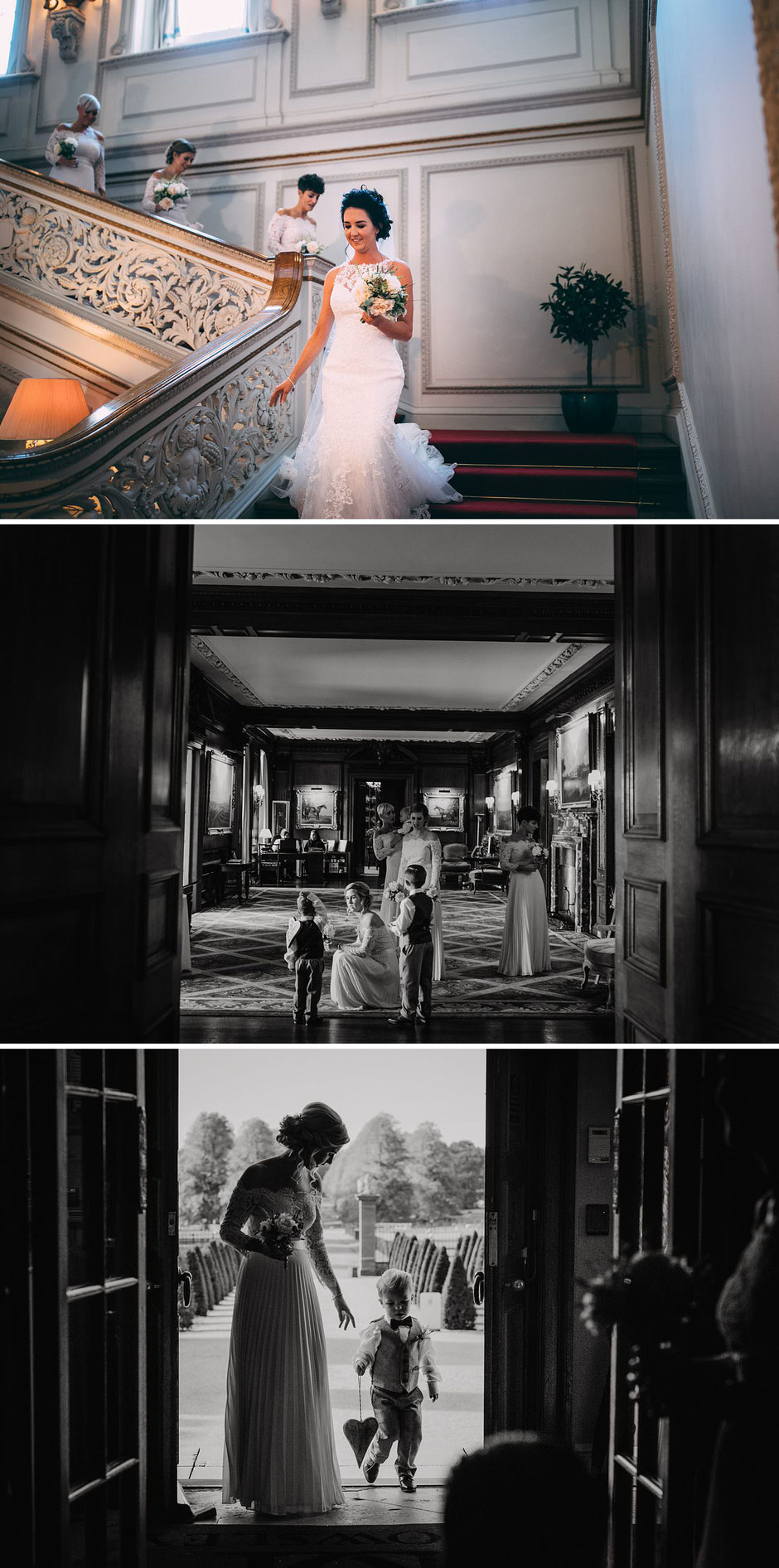 candid photographs of a bride and her bridesmaids walking to the wedding ceremony at Knowsley hall