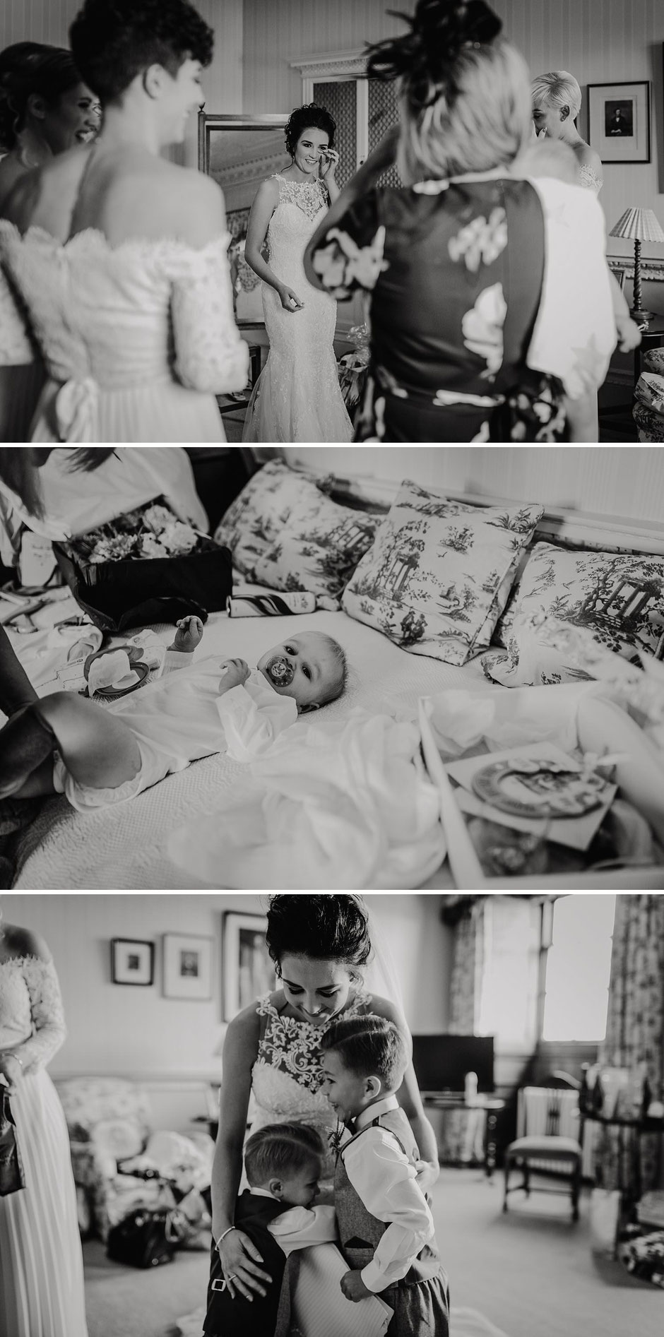 black and white images of a bride with her bridesmaids and sons during bridal preparations on her wedding day