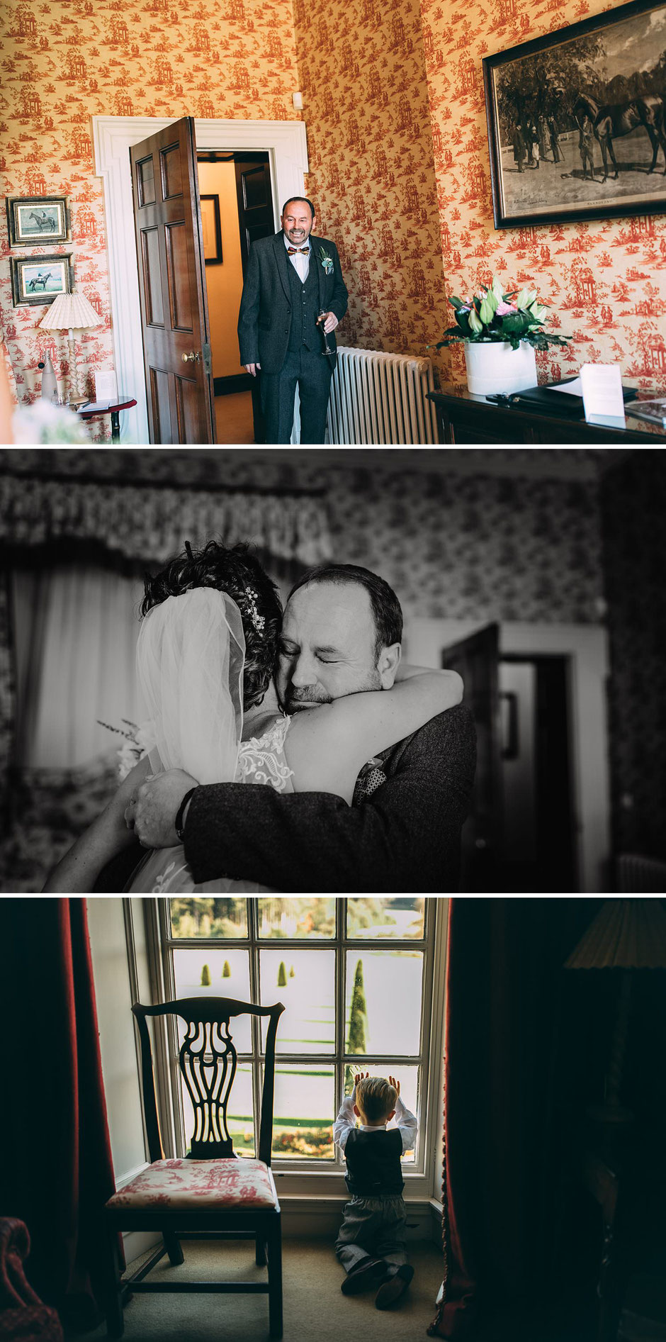 photographs of a brides dad seeing her for the first time fully dressed ready to get married