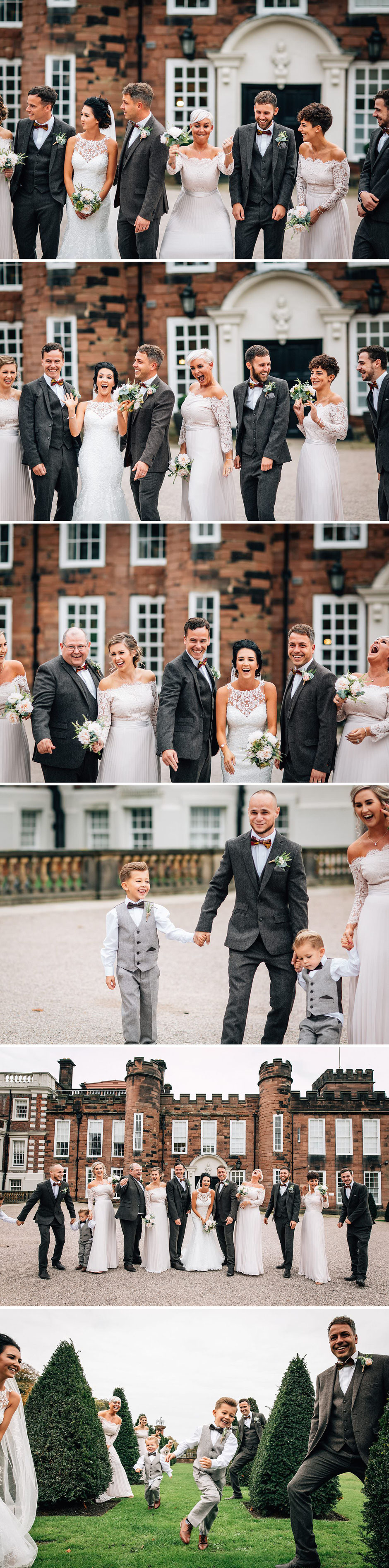 fun photographs of bridal and groom party posing