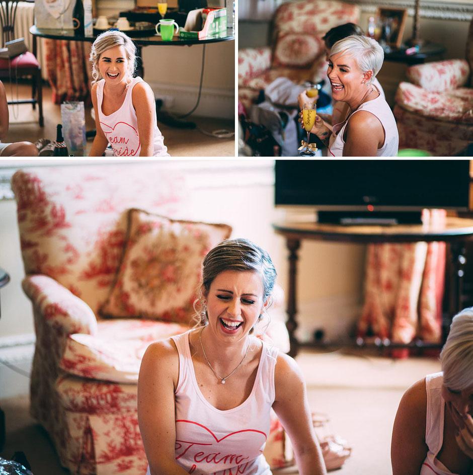 candid photographs of bridesmaids laughing dressed in team bride pyjamas