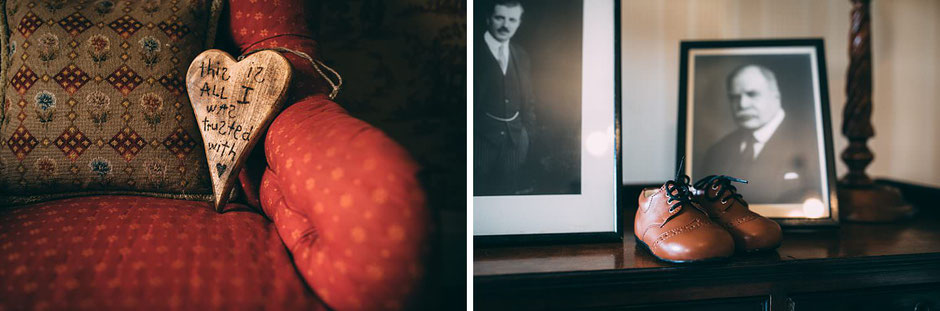 Detail photographs including wooden heart and babies shoes from a wedding at Knowsley hall