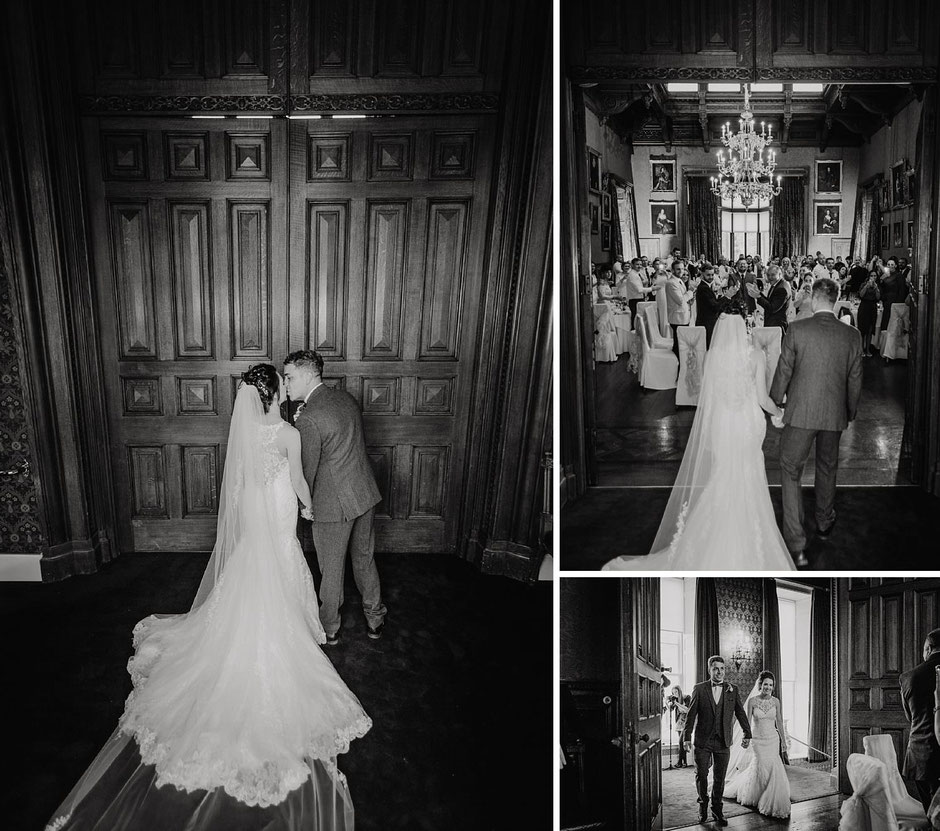 black and white photographs of a bride and groom being announced to their wedding guests