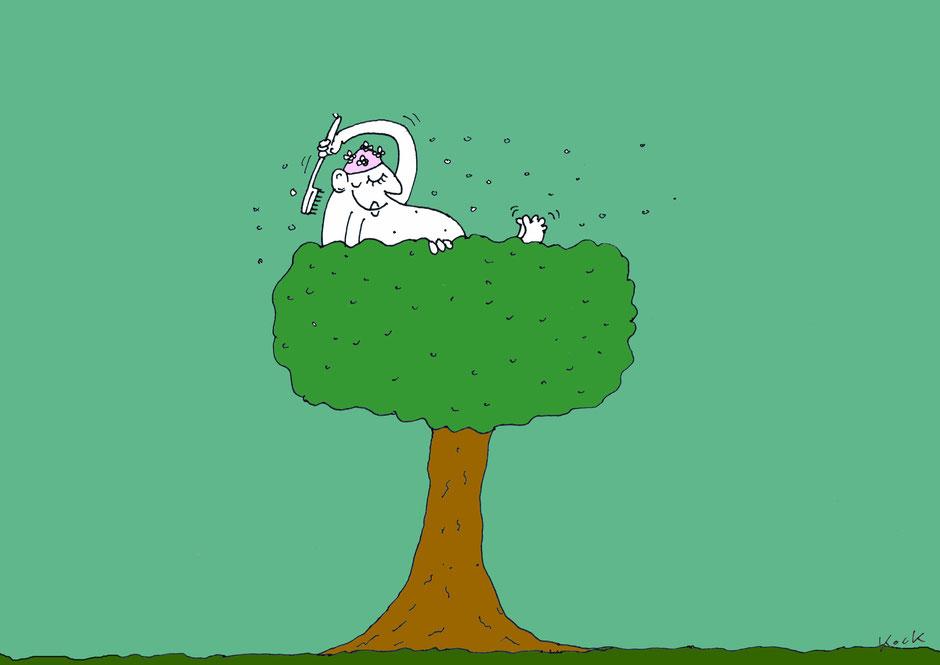 Mann nutzt Baum als Badewanne Waldbaden Cartoon Oliver Kock