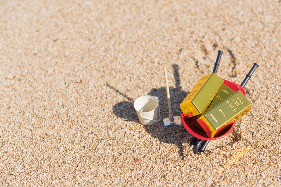 砂浜での宝探し(模型)