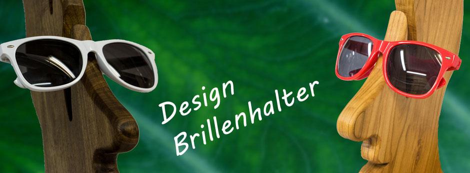 Besondere Design Brillenständer für 6 Brillen aus  Schweizer Nussbaum und Kirschbauemholz