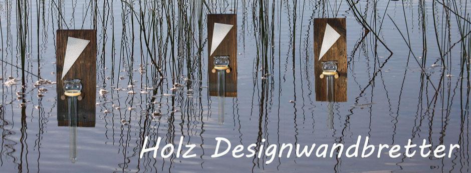 Design Kerzenständer aus rustikalem Holz direkt aus Brett aus geschnitten kann als Vase oder Kerzenhälterung verwendet werden. Das Glas Rohr ist mundgeblasen