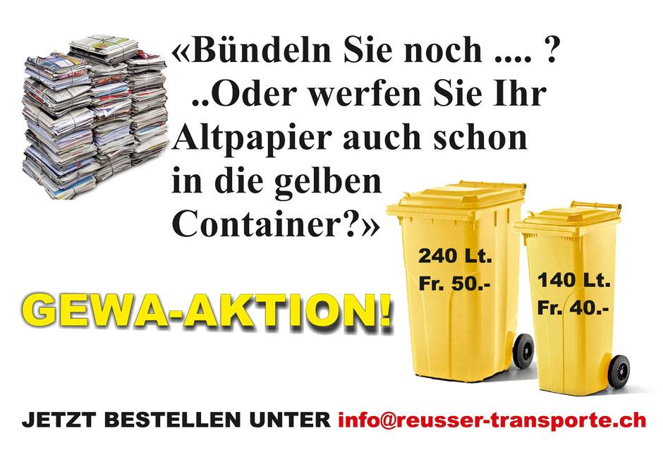 GEWA-Aktion - Altpapier-Entsorgung in den gelben Container