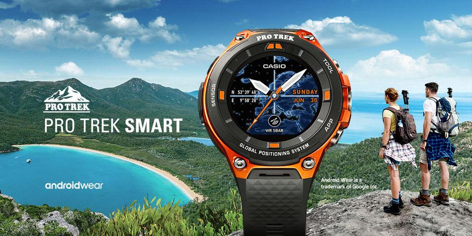 Casio Pro Trek Smart Watch mit Outdoor Hintergrund