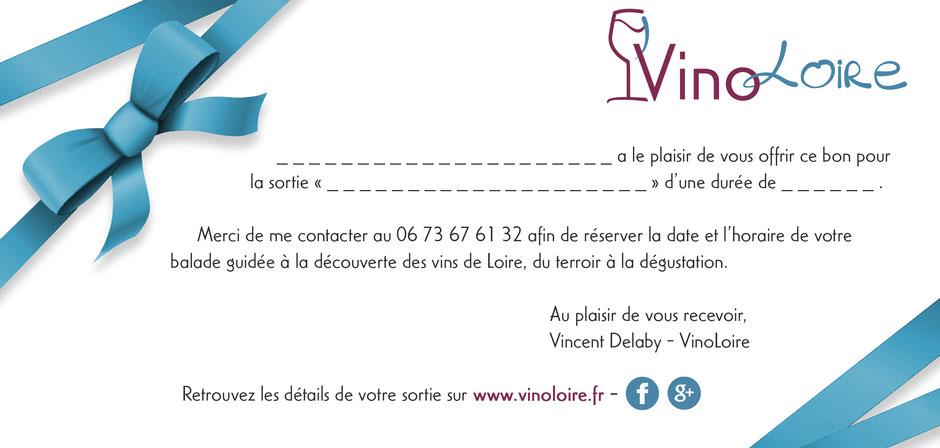 VinoLoire - Vincent Delaby - Carte cadeau de Noël pour une visite accompagnée des vignobles du Val de Loire