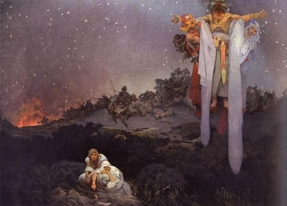 """Alfons Mucha: Słowjenjo w prawótčinje (Z cykla """"Słowjanska epopeja"""", 1911-1928)"""