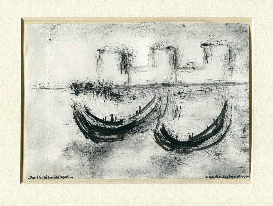 """Třirohata"" Retra. Akwarel wot H. Kuntzeho-Seeborga (1950). Fotografował Baal Müller"
