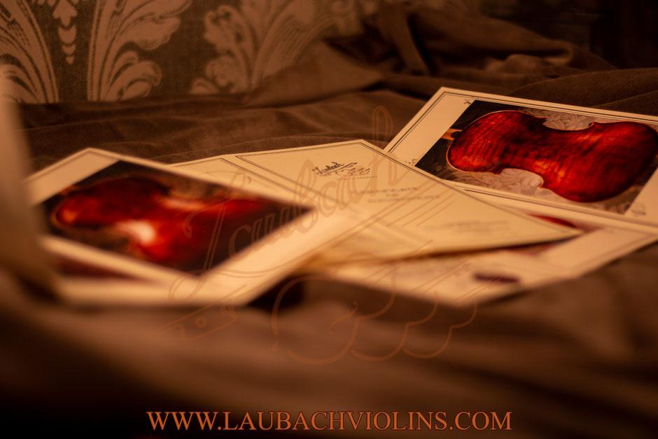 Laubach bow  Certificate authenticity for violin, cello or viola