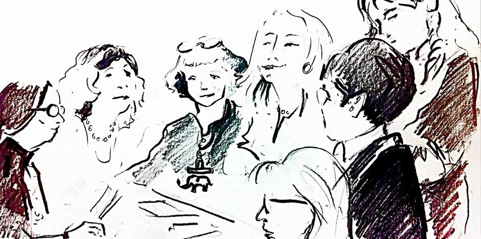 Detail einer Zeichnung von Saxana N. Schötschel