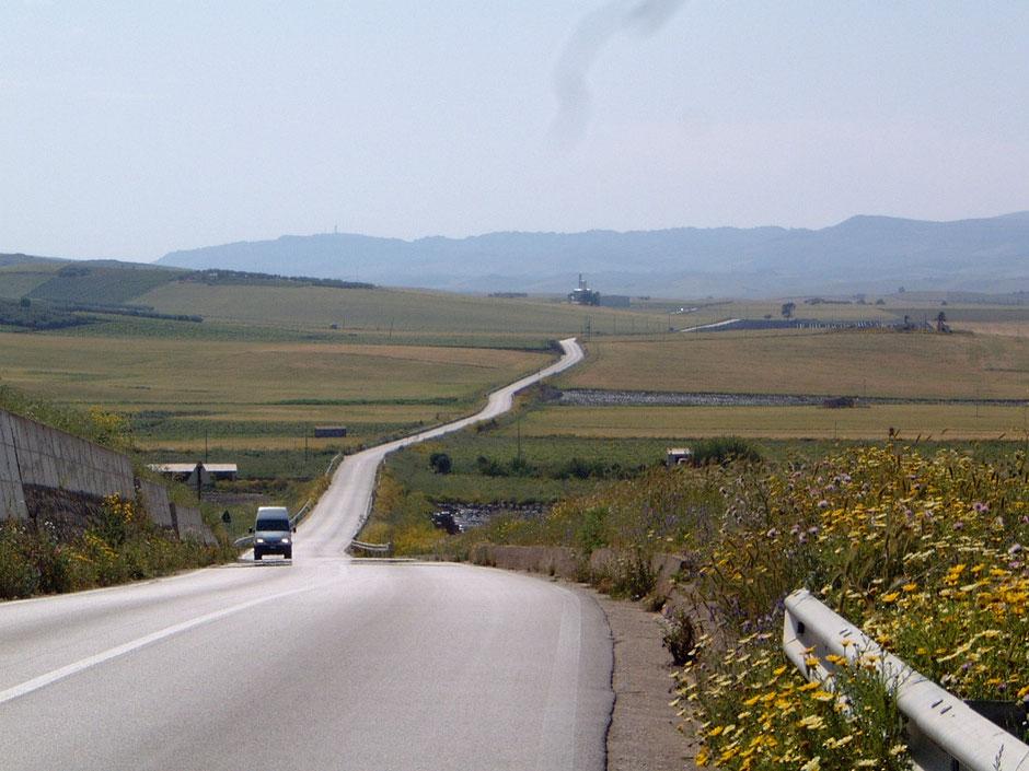 シチリア西部を南から北へ縦断。小麦畑が広がる。パンがおいしいシチリア。