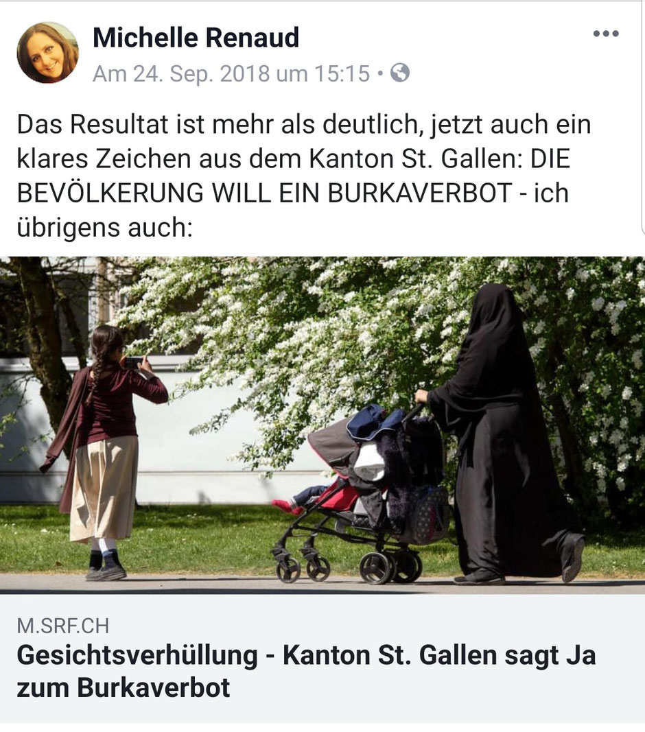 Michelle Renaud - Facebook-Post zum Thema Burka-Verbot