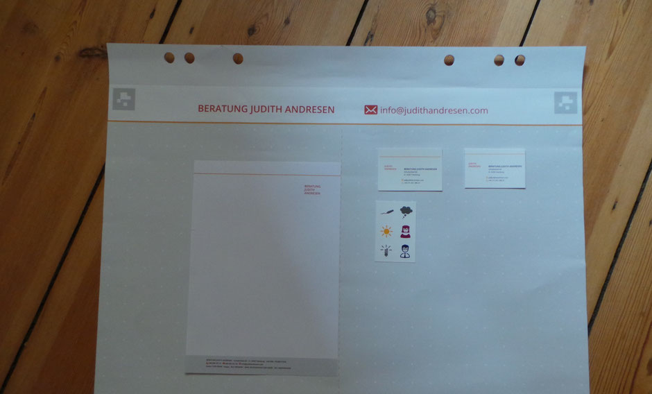 Briefpapier, Visitenkarten, FlipChartPapier, Aufkleber