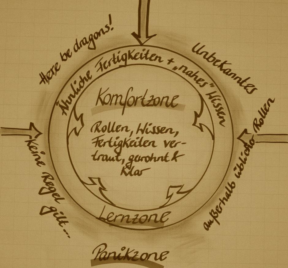 Grafik: Komfort-, Lern- und Panikzone