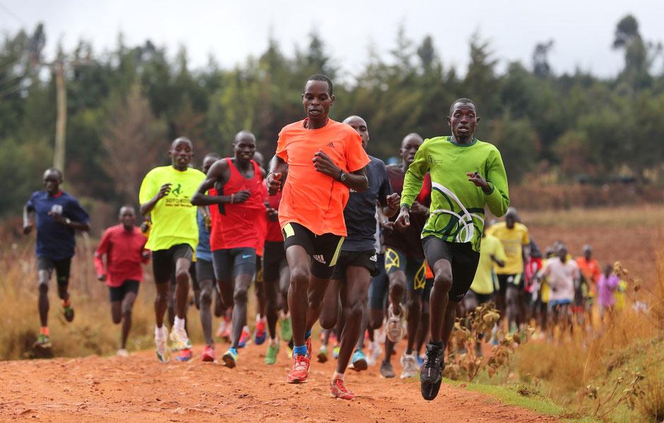 Auch den schnellen Kenianern bleibt das harte Training für einen schnellen Marathon nicht erspart!
