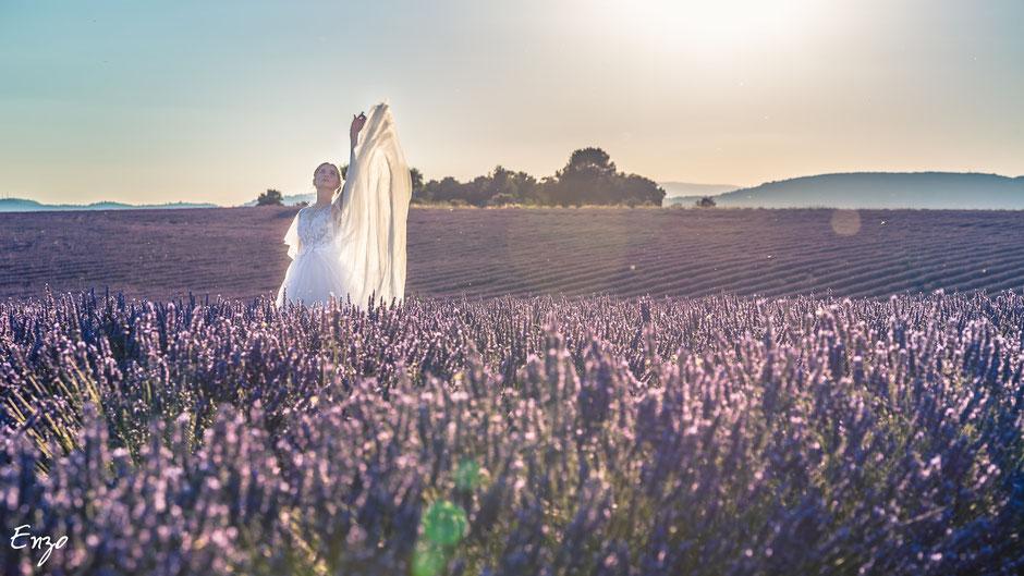 Photo d'une jeune mariée dans un champs de lavande à Valensole en Provence