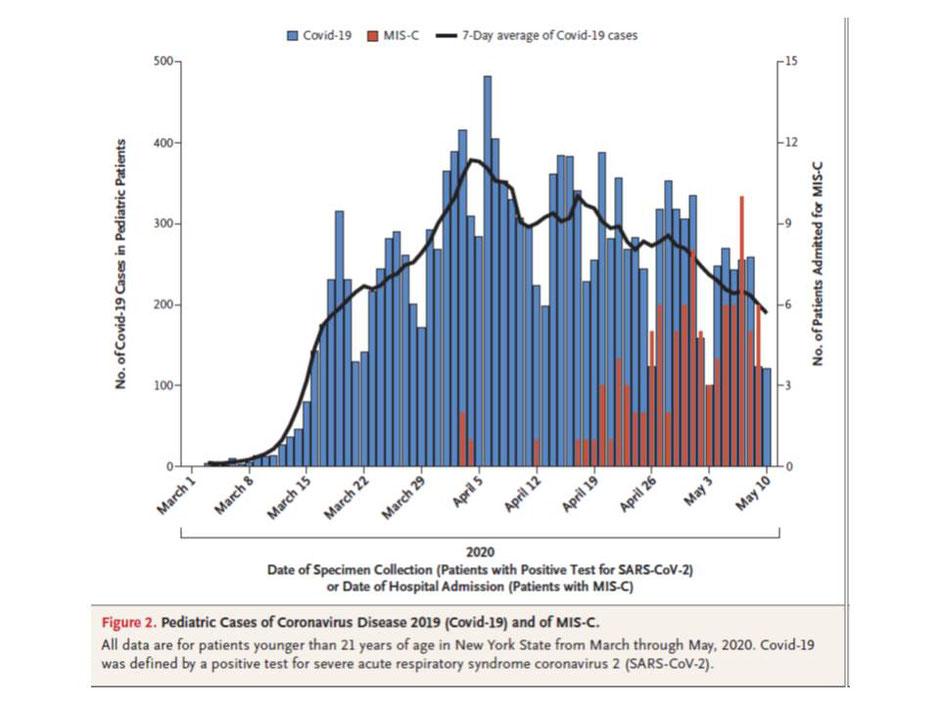 SARS-CoV-2 Neuerkrankungen (blaue Säulen) und MIS-C (rote Säulen) zwischen 1. März und 10. Mai 2020 in NY State, (Abb.2 Dufort et al.)