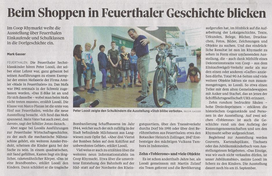 """Ausstellung """"stoh blibe verbote"""" Rhymarkt Feuerthalen, SN 07.09.2018"""