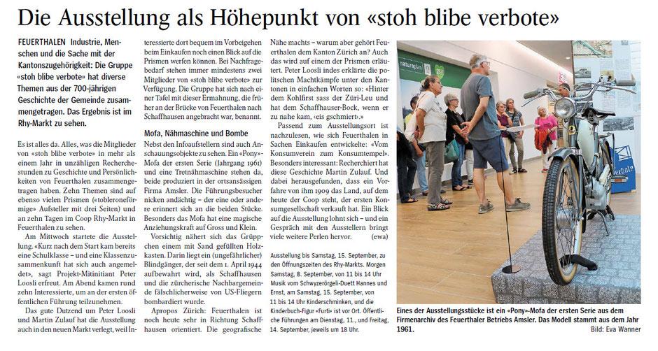 "Ausstellung ""stoh blibe verbote"" Rhymarkt Feuerthaelen, AZ 07.09.2018"