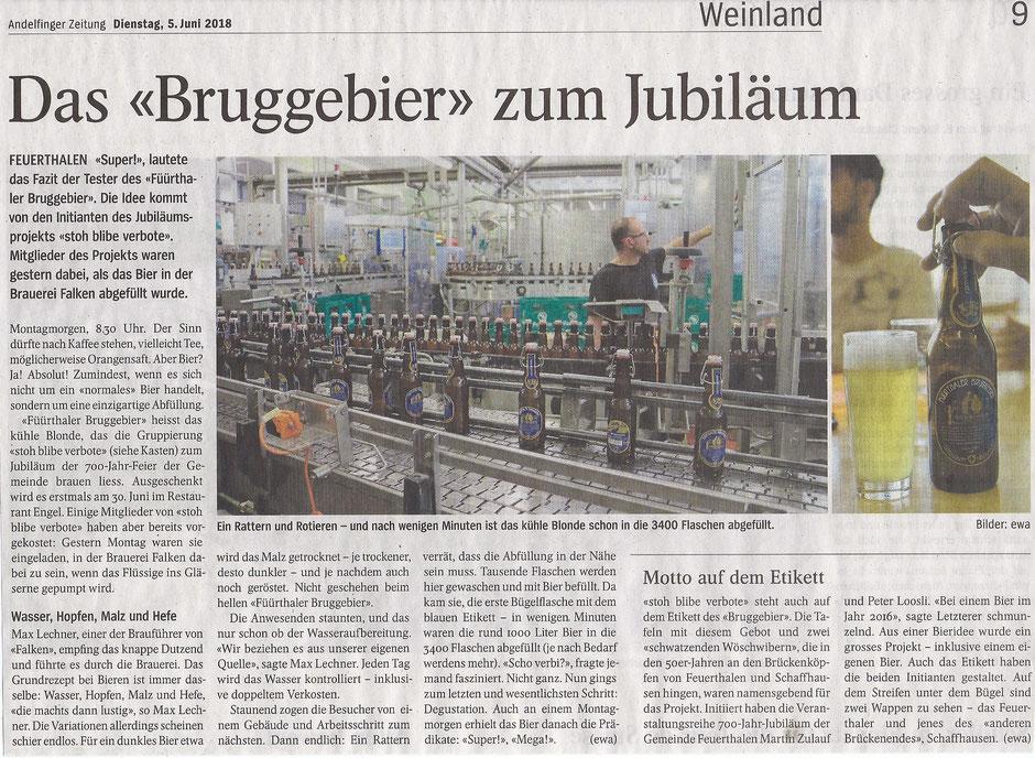 FÜÜRTHALER BRUGGEBIER, Abfüllung 04.06.2018